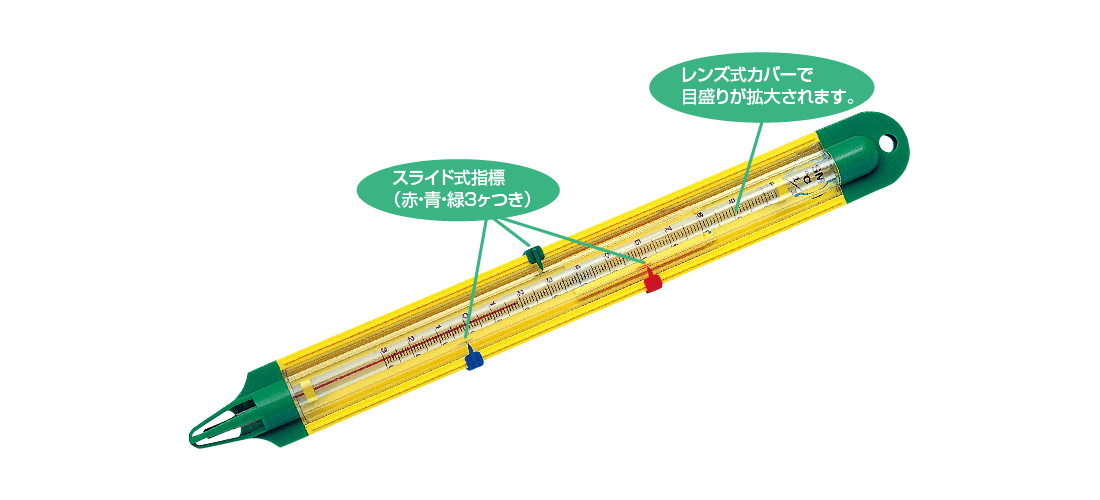 透視ケース型棒温度計